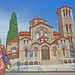 Macedonia, Greece, Veria, girl in beach mood with Agioi Anargyroi church in backdrop #Μacedonia