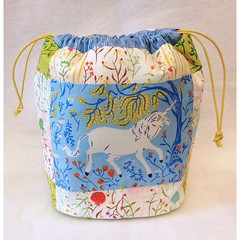 The unicorn drawstring bag  front (Cottilello) Tags: bag ross heather away fabric pouch patchwork unicorn far drawstring