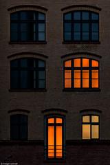 Occupied (After Dark V) (Holger Schnell) Tags: lighting door windows light shadow urban house berlin art architecture night facade dark living factory loneliness darkness arts illumination structure illuminated mitte afterdark brunnenstrasse