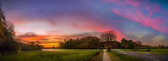 Good Morning (dkphotographs) Tags: road street morning autumn trees red sky panorama orange sun sunlight fall nature beautiful field yellow misty fog clouds rural sunrise fence way landscape countryside early path wildlife country foggy hazy sonyslta57 sonyalpha57