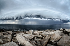 The Storm (ValentinSchalk) Tags: ocean storm water rain clouds landscape coast rocks stones dramatic east northamerica atlanticocean wheater eastcoast