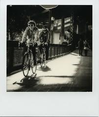 Bikers on Steel Bridge [Explored] (patrick j. clarke) Tags: theimpossibleproject impossibleinstantlab