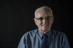 Granddad (Luke Mochan) Tags: camera old blue portrait college face shirt 50mm glasses scotland nikon dundee head flash watch tie shoulders granddad f18 d7000