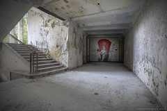 Soviet Pride (adamxphotos) Tags: light shadow berlin abandoned stairs germany lost photography mural paint decay corridor hidden photograph staircase forgotten urbanexploration soviet peelingpaint exploration decayed decaying lager airfield urbex altes adamx juterbog sovietpride