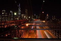 Race to Manhattan (Tommy_JB) Tags: nyc newyork cars skyline night manhattan brooklynbridge lighttrail