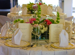 Flower Arrangement on Table Setup (WOW Philippines Travel Agency) Tags: wedding bride groom flowers roses bouquet food weddingfood cake philippines filet mignon bearnaise sauce ravioli duck liver smoked salmon parmesan cutting display pink icing table party setup rings beautiful cream artichoke soup canonigo mango balls
