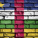 National Flag of Central African Republic on a Brick Wall