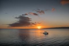 Time To Head Home (helenehoffman) Tags: paddleboard fishing sunset molokai island boat ocean hawaii pacific lanai