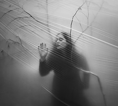 The Ephemeral Dream (Maren Klemp) Tags: fineartphotography fineartphotographer blackandwhite monochrome darkart surreal conceptual selfportrait portrait plastic tree dreamy dream painterly evocative expressive ethereal woman dress branches naturallight outdoors