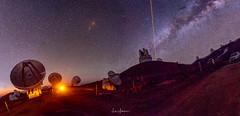 Milky Way & Laser On Top of Mauna Kea Summit (JUNEAU BISCUITS) Tags: milkyway astronomy astrophotography observatory maunakeasummit maunakea skyscape stars hawaii bigisland satellitedish nikond810 nikon nikon1424