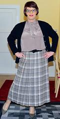 Birgit023902 (Birgit Bach) Tags: pleatedskirt faltenrock bowblouse schleifenbluse cardigan strickjacke