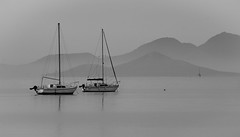 Tranquillity (Timallen) Tags: yacht marmenor spain bw