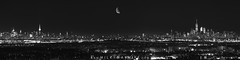 NYC Panorama (Mike Ver Sprill - Milky Way Mike) Tags: nyc new york city rutgers university jersey nj eagle rock east orange oranges panorama pano panoramic bw black white lights night sky clear manhattan empire state building moon quarter phase middle center overlook look over point high beautiful