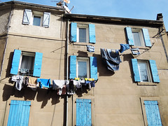 Washing in the sun (Josiane D.) Tags: washing window house wall provence linen towels blue clothes