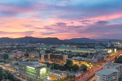 Twilight, sunset at Hua Hin city