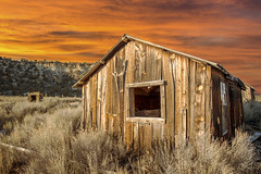 Old Cabin (blue5011b) Tags: utah sky clouds sunset cabin barn shed old wood composite lightroom photoshop nikon d700