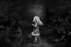 Among the Haunting of the Mind~ (Kapuschinsky) Tags: mystery blackandwhite bnw monochrome monochromaticfineart fineart bnwfineart emotive moody dramatic mysterious surreal dreamy spirits haunting girl child centersubject center sonyalpha sonyphotographing sonya700 minolta conceptual evocative woods forest nature trees path pathways faceless hair dark minoltag movement pennsylvania pennsylvaniaphotography