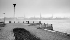 Always sunny in Riga (MarxschisM) Tags: riga latvia daugava river mist fog bw