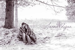Winter Engagement (jenna.lindquist) Tags: love couple tree blackandwhite blackandwhitephoto engagement engagementsession blanket plaid northwoods wisconsin snow winter snuggle kiss canon70200f28lll