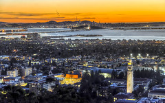 Between Berkeley and San Francisco (Decaseconds) Tags: hdr landscape city sunset berkeley sanfrancisco bridge bay campanile tower campus college university yerbabuena treasureisland emeryville port oakland