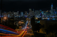 muni 19 inbound (pbo31) Tags: bayarea california nikon d810 color april 2017 spring boury pbo31 urban sanfrancisco city skyline night dark black potrerohill deharostreet lightstream motion traffic over view salesforce construction cranes infinity muni bus victoriamews