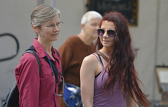 Mother and Daughter (swong95765) Tags: women females ladies walking mother daughter redhead longhair short hair