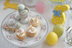 Happy Easter☆ (*tmk*) Tags: easter pink yellow blue cupcake eggs pastel tabletop table styling happy happiness love bokeh white rabbit
