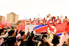 parade for the successfull bestkorean sportspeople, returning from asian games in South Korea (jonas_k) Tags: travel northkorea pyongyang dprk pjöngjang