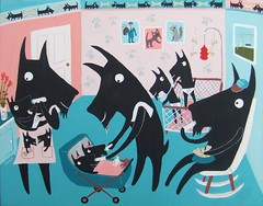 becky nursery l (sarapulver) Tags: art funny scottie quirky whimsical petportrait dogpainting scottiedog sottishterrier sarapulver