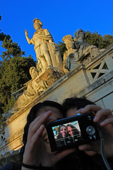 Dynamic duo (R.i.c.a.r.d.o.) Tags: camera girls italy rome statue photo women europe faces background duo picture double monuments effect foreground