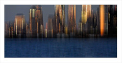 nynynyny (me*voilà) Tags: nyc blur water silhouette reflections skyscrapers manhattan hudsonriver icm boatride onblue fassades