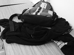 Black and White Backpack and Coat on Cafeteria Table Grand Rapids Montessori (stevendepolo) Tags: white black table coat grand rapids backpack montessori cafeteria