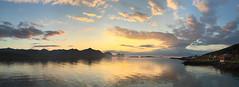 iPhone 6+ panorama # 3 (Stenersenfoto) Tags: sunset sea panorama sun mountain building clouds landscape iphone iphone6plus