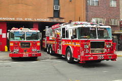 FDNY Engine 219 and Tower Ladder 105 (Triborough) Tags: nyc newyorkcity ny newyork tower brooklyn engine firetruck fireengine prospectheights ladder fdny seagrave kingscounty towerladder newyorkcityfiredepartment engine219 ladder105 towerladder105