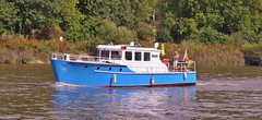 """We Are Going to be on Flickr in an hour. Actually Change That to Fourteen Months"" (standhisround) Tags: trees people water river boat scenic police vessel rhine riverthames patrol bingen richmonduponthames cabincruiser exgerman expatrolvessel"
