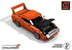 HPP Dodge Challenger-Superbird Conversion (lego911) Tags: auto birthday usa car america model conversion lego top render wing performance gear dodge modified products dozen chrysler daytona 7th challenge challenger cad heide lugnuts bakers 68 povray hpp 84 moc topgear superbird ldd miniland abakersdozen lego911 lugnutsturns7or49indogyears
