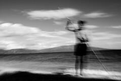 time machine (Vasilis Amir) Tags: boy sea blackandwhite bw blur beach monochrome samurai icm ixtlan  intentionalcameramovement
