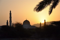 A New Day in Oman (The Spirit of the World ( On and Off)) Tags: sun sunlight sunrise muslim islam middleeast mosque palmtree oman muscat arabianpeninsula thegrandmosque rememberthatmomentlevel4 rememberthatmomentlevel1 rememberthatmomentlevel2 rememberthatmomentlevel3 rememberthatmomentlevel5 rememberthatmomentlevel6 thegrandmosqueatsunrise gulfnations