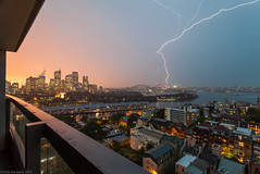 North Sydney Voltage (cksydney) Tags: sunset storm nature weather sydney australia lightning sydneyoperahouse sydneyharbourbridge 2014
