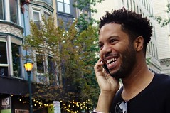 Happy Smile! (ViewFromTheStreet) Tags: street portrait man male guy classic philadelphia smile mobile happy photography calle amazing phone unitedstates pennsylvania candid streetphotography cell blick allrightsreserved sansom happysmile gayborhood viewfromthestreet stphotographia vftsviewfromthestreet blickcalle copyright2014 copyright2014blickcalle blickcallevfts blickcallevfts