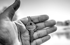 The Key to Strength (AdrienneCredoPhotography) Tags: bw white black keys necklace nikon giving strength organization d3200