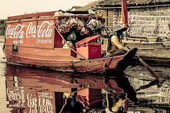 coke light (ShotByMePhotography) Tags: reflection river shopping boat asia cambodia cambodian khmer village cola paddle floating coke siem reap cocacola siemreap coca