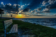 Take a Seat (dbubis) Tags: bridge sunset clouds bench tampa tampabay florida sony dramatic fl hdr crepuscularrays gandy bubis dbphoto nex6 dbubisphoto ilovetampabay