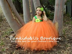 Gorgeous Orange Full Tutu Dress- Orange and green Tutu Dress with green belt- Newborn to young Teen (Funkids&Us Boutique) Tags: orange baby girl pumpkin costume clothing flowergirl gown tutu tutus
