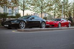 Aston Martin Vantage V8 and Ferrari F430 (Artem Sheremetyev -33-) Tags: england italy 35mm nikon martin ferrari luxury aston spotting almaty f430 supercars unione worldcars esentai luxurylife vkcomunionecrew