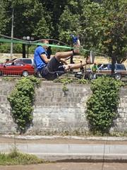 Tightrope walker en el Rio Mapocho (alobos Life) Tags: chile santiago boy en man cute guy sport rio river de outdoors nice body el walker deporte tightrope urbano providencia mapocho