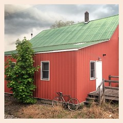24 May 2014 (Rob Rocke) Tags: travel trees windows red buildings vermont trains bicycles amtrak transportation brattleboro vt portals throughawindow vermonter exteriors instagram