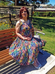 Sitting In The Sun (justplainrachel) Tags: white floral vintage bench tv rachel shoes pretty dress cd sunny retro tgirl transvestite crossdresser patterned justplainrachel