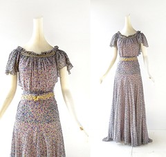 1930s floral print silk chiffon gown with chartreuse stripes (Small Earth Vintage) Tags: smallearthvintage vintageclothing vintagefashion dress gown 1930s 30s floralprintdress silkchiffon stripes