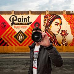 Paint It Nikon (Geoff Sills) Tags: jersey city paint it black obey mural nikon 1424mm lens cap clothing geoffrey william sills geoff illumeon digital 1x1 square urban creative portrait shepard fairey